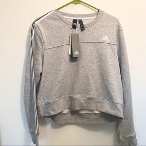 NWT Adidas Cropped Grey Crew Sweatshirt Sz Large